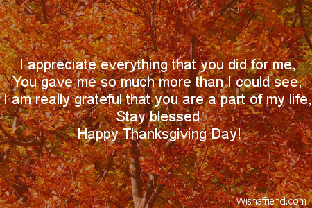 I appreciate everything that you did thanksgiving card message thanksgiving card messages m4hsunfo