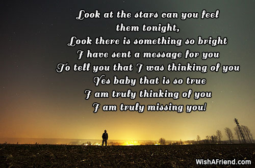 Look at the stars can you, Thinking Of You Message