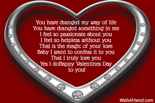 You Have Changed Valentine Poem For Her