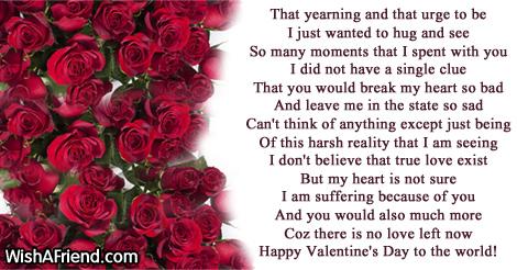 Broken heart valentine poems