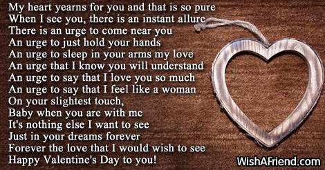 My heart yearns more , Valentine Poem for Him