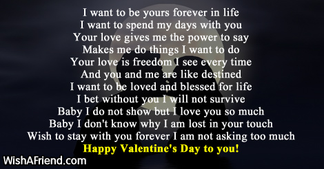 I want to be yours forever , Valentines Day Poem