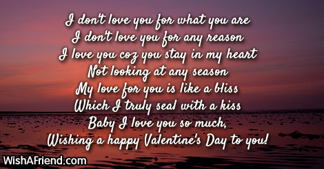 I don't love you for what, Romantic Valentine's Day Love
