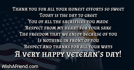 Thank You For Your Services Poem For Veteran S Day