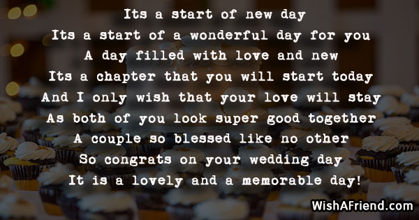 its a start of new day   wedding poem