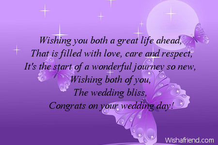 Wishing you both a great life Wedding Card Message