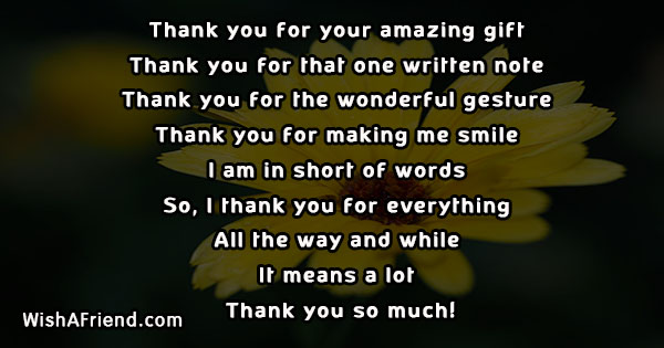 thank you for your amazing gift words of thanks