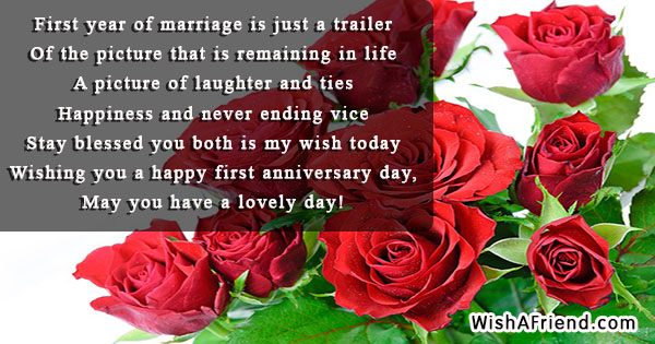 First Year Of Marriage Is Just First Anniversary Message