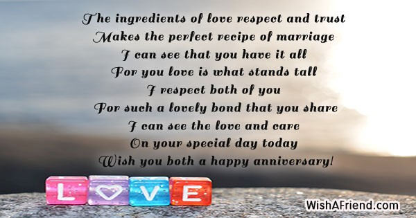 The ingredients of love respect and, Anniversary Message
