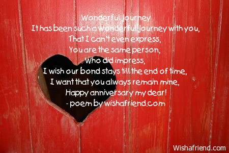 Wonderful Journey Anniversary Poem