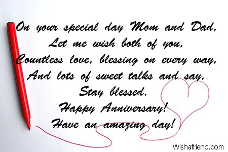 on your special day mom and anniversary message for parents