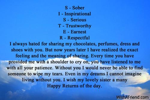 S   Sober I   Inspirational S, Sister Birthday Message