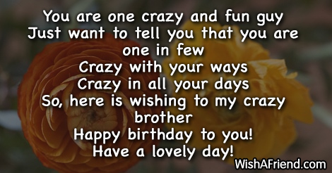 crazy birthday wishes You are one crazy and fun, Birthday Wishes For Brother crazy birthday wishes