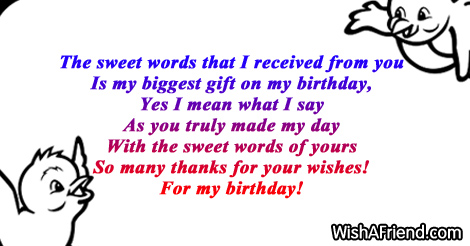 the sweet words that i received thank you for the birthday wishes
