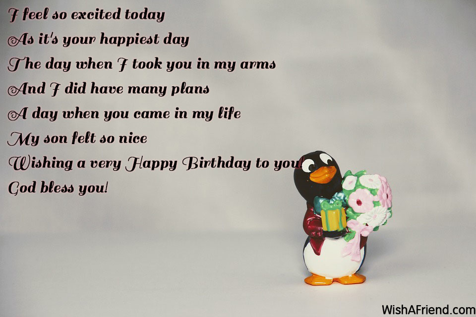 I Feel So Excited Today As Birthday Quote For Son