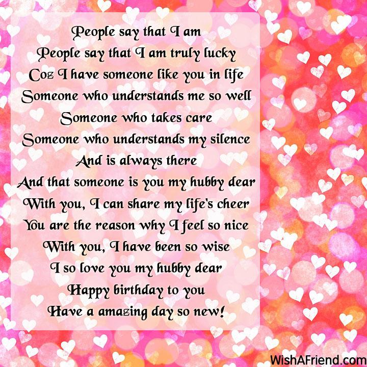 People Say That I Am Husband Birthday Poem