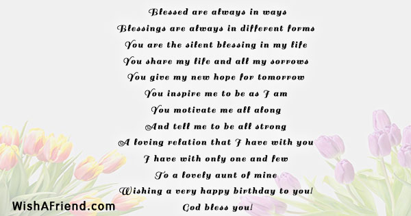 Blessed Are Always In Ways Birthday Poem For Aunt