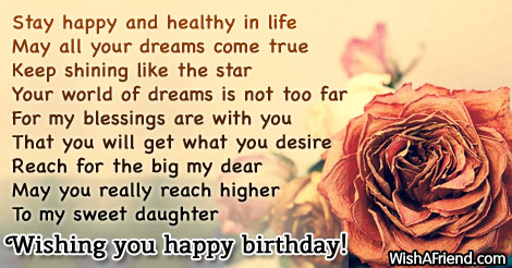 Stay Happy And Healthy In Life Birthday Wishes For Daughter