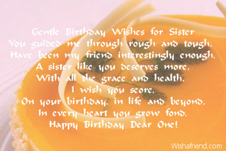 Gentle Birthday Wishes For Sister
