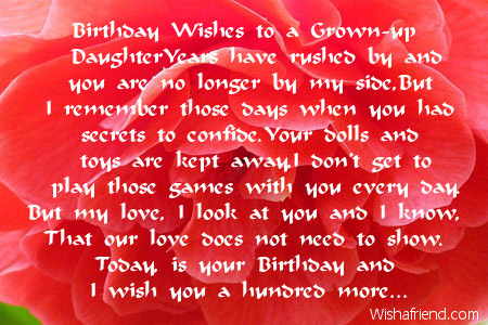 Birthday Wishes To A Grown Up Daughter