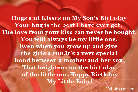 Hugs And Kisses On My Sons Birthday