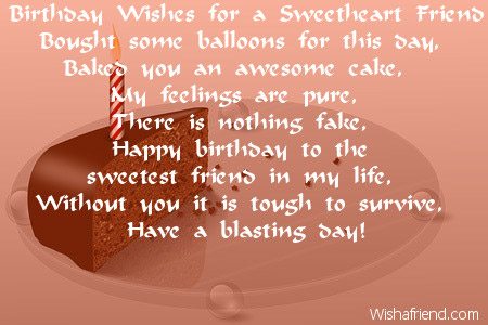 Birthday Wishes For A Sweetheart Friend