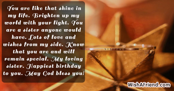 You Are Like That Shine In Sister Birthday Quote
