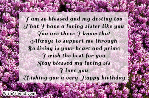 I Am So Blessed And My Sister Birthday Message