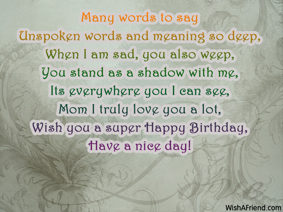 Many Words To Say Mom Birthday Poem