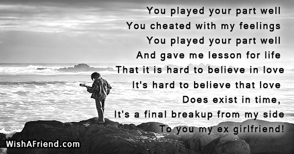 You played your part well You, Breakup Message for Girlfriend