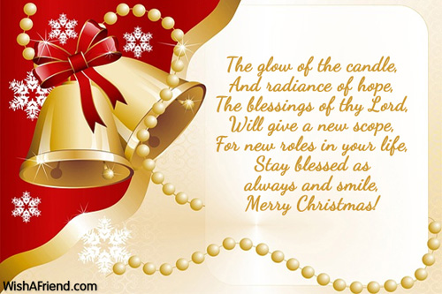 Christmas Blessing Poem.The Glow Of The Candle And Christmas Blessings