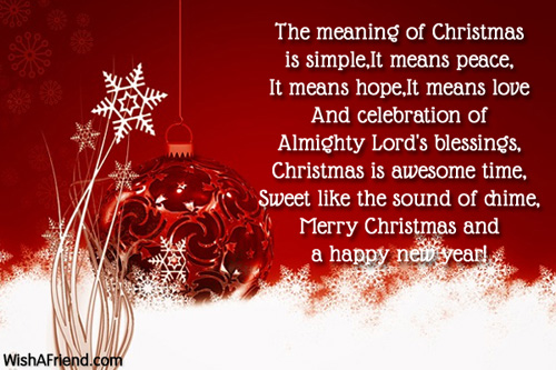 The meaning of Christmas is simple, It