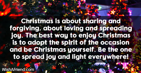 Christmas is about sharing and forgiving,, Christmas Message for Kids