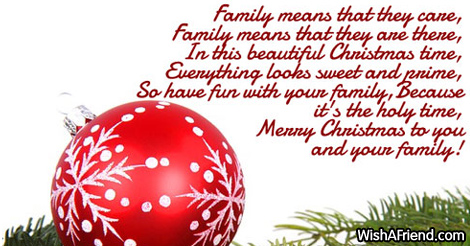 Family means fun, Christmas Poem For Family