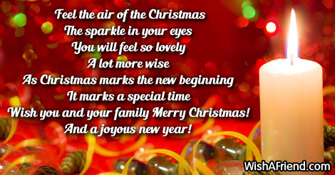 Feel the air of the Christmas, Merry Christmas Message