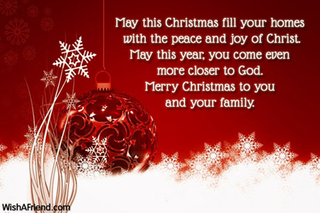 May this Christmas fill your homes, Merry Christmas Message