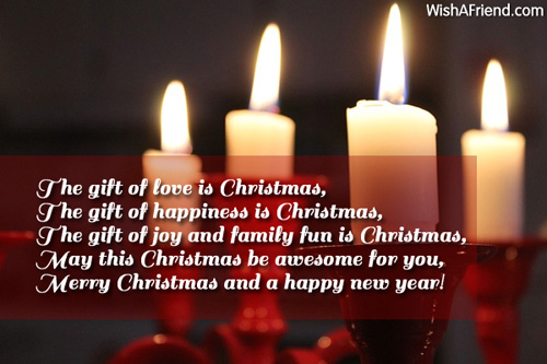 The gift of love is Christmas,, Christmas Card Message