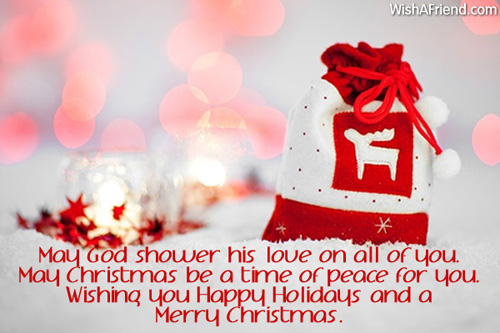 May God shower his love on, Merry Christmas Wishes