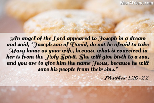 An angel of the Lord appeared, Religious Christmas Quote
