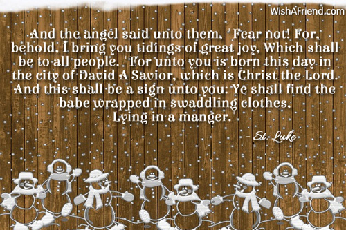 And the angel said unto them,, Religious Christmas Quote
