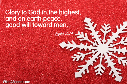 Glory To God In The Highest Religious Christmas Quote