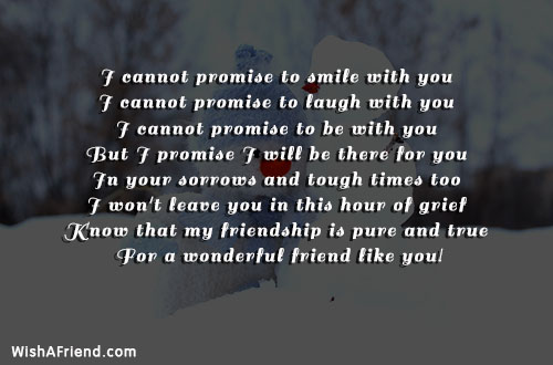 I cannot promise to smile with, Best Friend Quote