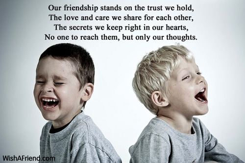 Our friendship stands on the trust, Friendship Message