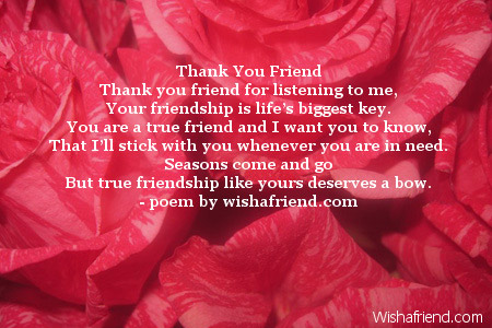Thank You Friend Poem For Friends
