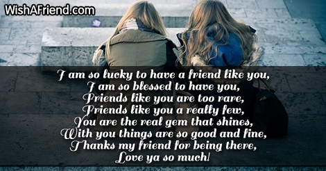 So Lucky To Have You Friends Forever Poem