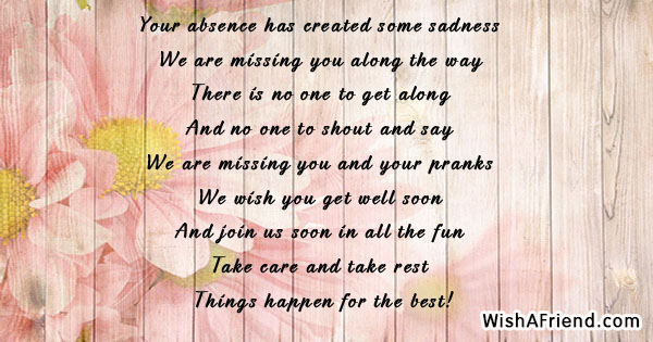 Your Absence Has Created Some Sadness Get Well Soon Card Message