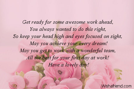 I Wish Your First Day Is Awesome Good Luck Poem For New Job
