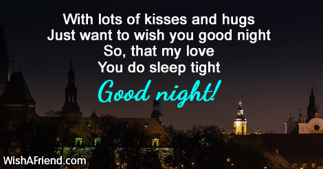 With Lots Of Kisses And Hugs Just Good Night Message For Wife