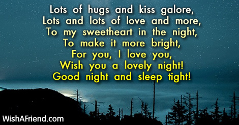 Lots Of Hugs And Kiss Galore Good Night Message For Girlfriend