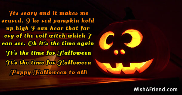 its scary and it makes me halloween message
